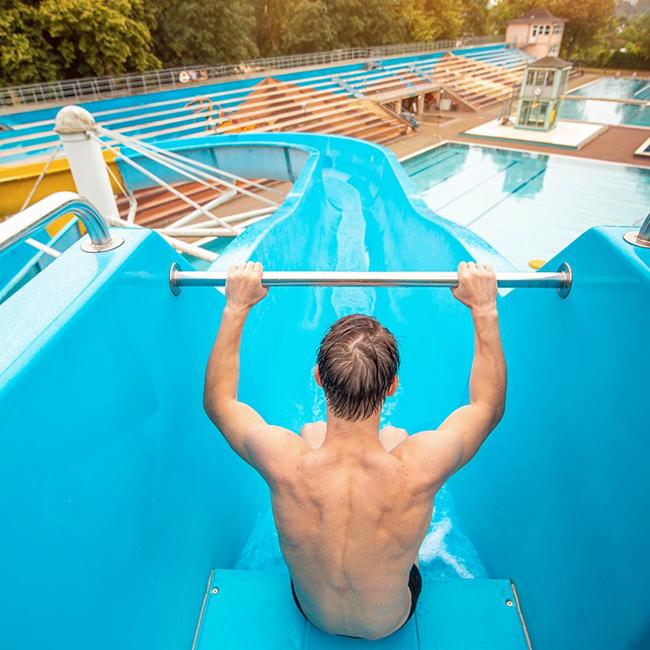 Man on a waterslide