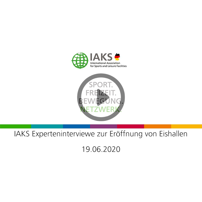 White background, IAKS logo, Caption IAKS Expertinterview about ice rinks